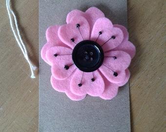 Felt flower brooch in pale pink