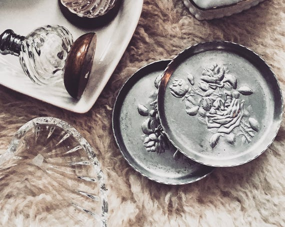 Vintage Metal Rose Dish