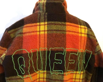 QUEEN neon embroidered on vintage plaid jacket, one of a kind up-cycled fashion