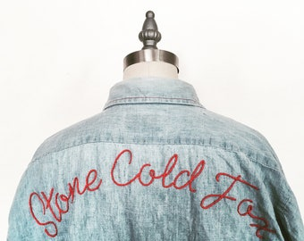 """Stone Cold Fox"" Hand Embroidered Oversized Denim Shirt"
