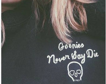GOONIES hand embroidered vintage/thrift sweatshirt
