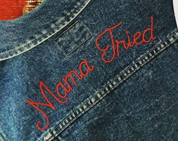 """Mama Tried"" Embroidered Denim Vest"