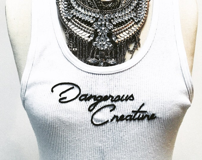 DANGEROUS CREATURE hand embroidered vintage/thrift top