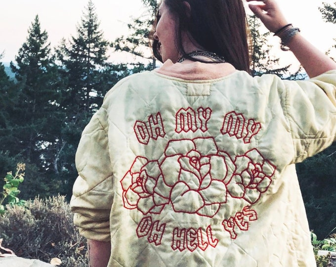 Featured listing image: OH HELL YES hand embroidered bomber jacket ~ Tom Petty inspired graphic