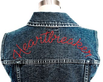 """Heartbreaker"" Hand Embroidered Denim Vest ~ Made to Order"