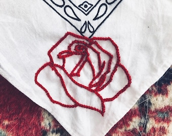 Rose Embroidered Vintage Bandana