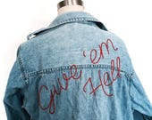 Embroidered Denim Shirt Made to Order Vintage Oversized Give Em Hell 70s 80s Sustainable Upcycled Festival Fashion