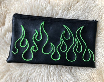 NEON FLAME hand embroidered purse