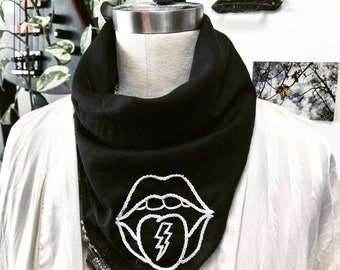 Rolling Stone inspired Embroidered Bandana