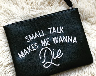 FUNNY embroidered graphic makeup bag/travel bag