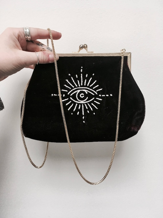 Embroidered Black Velvet Purse