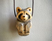 Raccoon Totem Necklace, Hand Carved, Grey & Black Stain