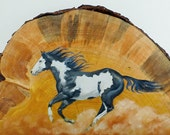 Mustang Oil Painting on Beetle Kill Pine