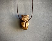 Hand Carved Wooden Mountain Lion Necklace