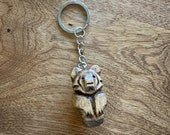 Bear Totem Keychain, Hand Carved, Choice of Stain Colors