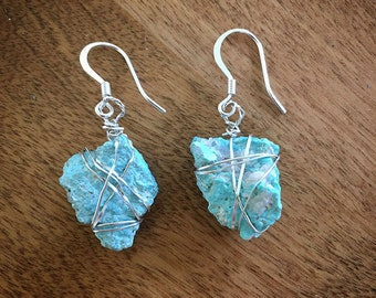 Silver-Wrapped Turquoise Nugget Earrings, Handmade
