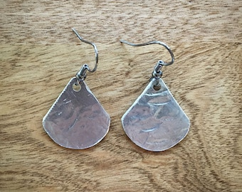 Hammered Pewter Earrings, Handmade