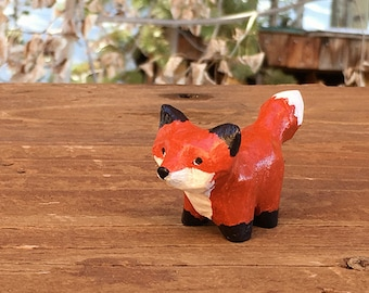 Hand Carved Wooden Fox