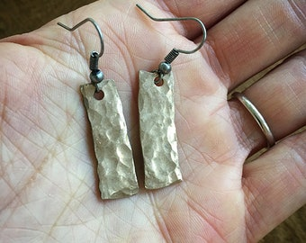 Hammered Bronze Earrings, Handmade