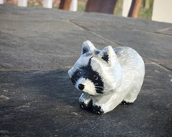 Hand Carved Wooden Raccoon