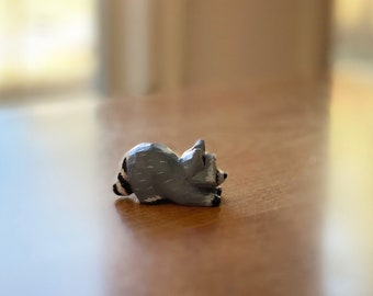 Hand Carved Tiny Wooden Raccoon