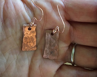 Hammered Copper Earrings, Handmade