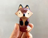 Fox Totem Necklace, Hand Carved, Hand Painted Deep Red & Black