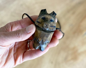 Wolf Totem Necklace, Hand Carved, Walnut Stain (New size options!)