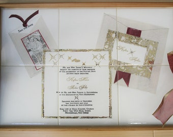 Wedding Invitation duplicated on hand-painted tiles in a wooden tray with gold gilding, unique wedding gift, couples gift, wedding present