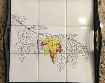 Holiday tile serving tray