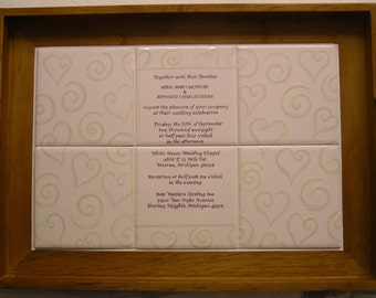 Wedding Invitation copied on hand-painted tiles in a wooden tray, unique wedding gift, couples gift, wedding present, couples keepsake