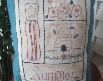 Summer Sampler  - Hand Embroidered Decorative Pillow - Summer Room Accent - Country Room Decoration - Summer Display - Garden Accent Pillow