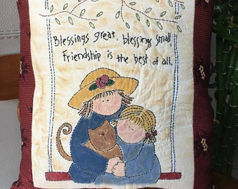 Inspirational Pillow , Friendship Pillow with Embroidered Verse ,  Decorative Room Decor ,  Country Room Accent , Farmhouse Decor