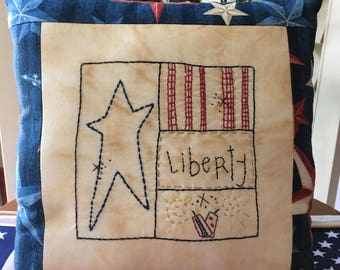 Patriotic Embroidered Pillow , Primitive Patriotic LIBERTY Decorative Pillow , Hand Embroidered Americana
