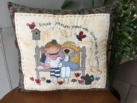 Friendship painted pillow spring pillow with embroidered etsy
