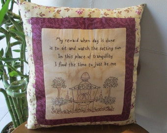 English Garden Embroidered Pillow - Inspirational Verse  - Embroidered Garden Room Decor - Flowers - Floral Decorative Room Accent - Country