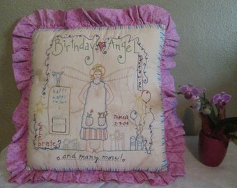 Personalized Birthday Pillow - Hand Embroidered Birthday Angel - Room Accent Pillow- Custom Birthday Gift - Embroidered Angel