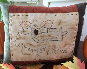 SALE - Fall Pillow - Harvest Blessings - Rustic Decor - Primitive Pilgrim - Fall Room Display - Embroidered Pilgrim - Fall Decoration