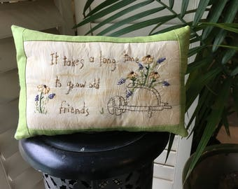 Friendship Pillow - Decorative Room Accent  - Mother's Day - Spring Pillow - Floral Decoration - Country Decor - Farmhouse Accent - Handmade