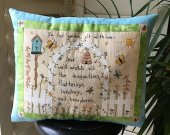 Hand Embroidered Garden Pillow - Floral Room Accent - Garden Display - Spring Accent - Country Decoration - Farmhouse Display - Butterflies