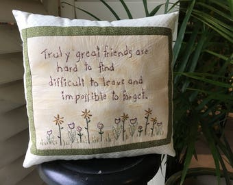 Inspirational Friendship Pillow - Hand Embroidered Pillow - Spring Accent - Country Decor - Farmhouse - Garden Decor - Spring Floral Display
