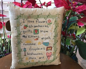 Embroidered Pillow , Inspirational Love Sampler Pillow , Hand Embroidered Room Accent , Love Decorative Accent Pillow, Mother's Day Gift