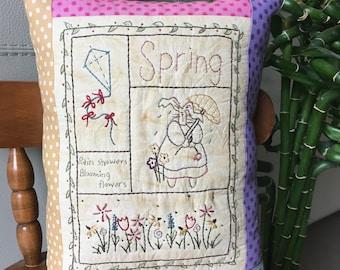 Decorative Spring  Sampler - Hand Embroidered Pillow - Spring Accent Pillow -  Easter Room Accent - Spring Decorative Pillow - Accent Pillow