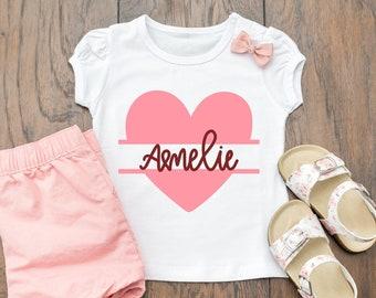2a746676047f0 Girls heart shirt   Etsy