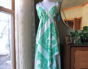 60s Dress Maxi Gown Gay Gibson Green White Ferns w/TAG Vintage 1970s Deadstock NOS Unworn