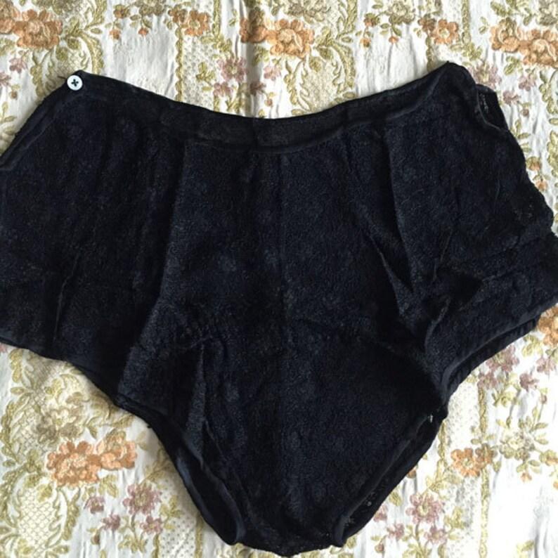 02d4be927da 1940s Vintage Panties Black French Alencon Net Lace Panty 40s