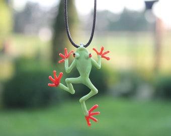 Green Frog on Clear Teardrop Handmade Lampwork Glass Focal Piece Necklace