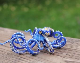 Blown Glass Octopus figurine Glass Ocean Octopus  Kraken