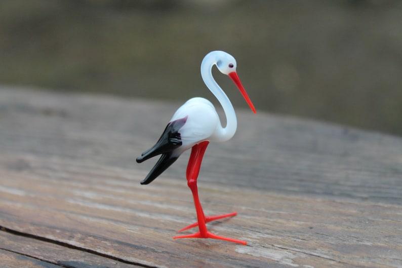 Small Glass Stork bird Murano Gift Blown Stork Sculpture Art image 0