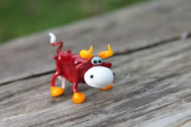 Cow Blown Glass Art Animal Figurine Handmade Home decoration Collectible Gift 2